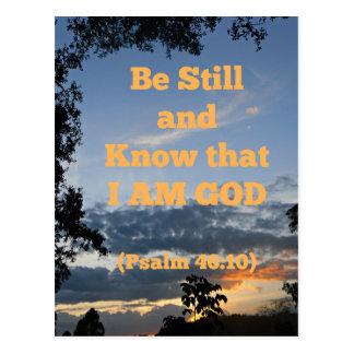 Psalm-Bibel ist noch und weiß, dass ich Gott bin Postkarte