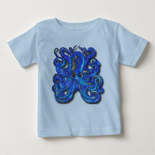 Psychedelische bunte blaue Krake mit Brown-Augen Baby T-shirt