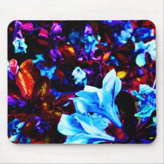 Psychedelische Garten-Blumen blaues lila Fuschia Mousepads