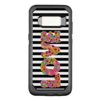 Psychedelische Liebe-Blume beschriftet gestreiften OtterBox Commuter Samsung Galaxy S8 Hülle