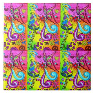 psychedelische magische Pilzfliese Große Quadratische Fliese