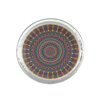 Psychedelische ovale Mandala Foto Ring