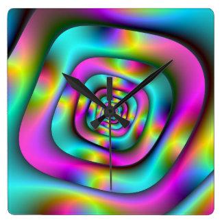 Psychedelische Tunnel-Wanduhr Quadratische Wanduhr
