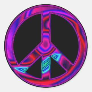 Psychedelischer Frieden Runder Aufkleber