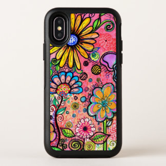 Psychedelisches Blumen-Zeichnen OtterBox Symmetry iPhone X Hülle