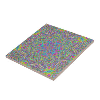 Psychedelisches flippiges BlumenKaleidoskop-Neonmu Kachel