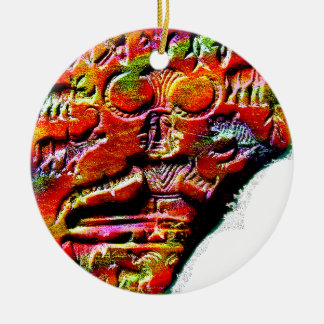 Psychedelisches Shiva Pashupatinath Symbol Harappa Rundes Keramik Ornament