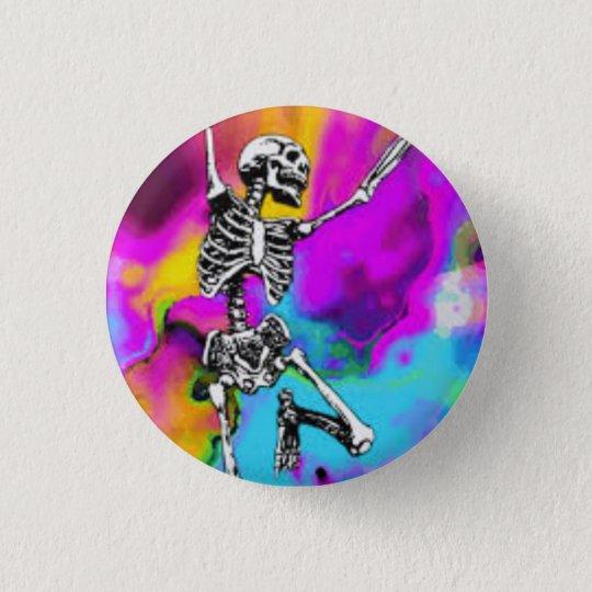 Psychedelisches Skelett Runder Button 3,2 Cm