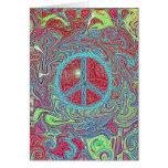Psychedelisches starkes Trippy Friedenszeichen Grußkarte