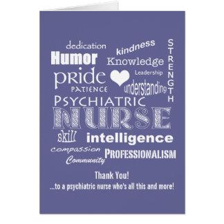 Psychiatrische Krankenschwester danken Ihnen, Grußkarte