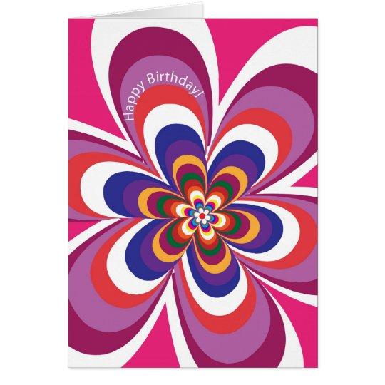 psychodelic Blume in der Rosagrußkarte Karte