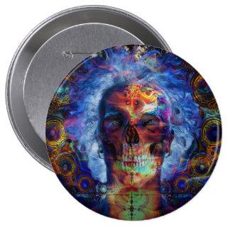 Psychodelic Kunst des Schädels Runder Button 10,2 Cm