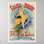 """Publicité 1893 de Folies Bergère """"Fleur de Lotus"""" Poster"""