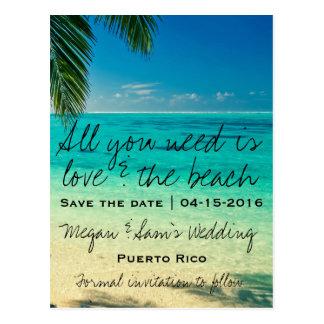 Puerto- RicoHochzeit in Urlaubsort Save the Date Postkarte