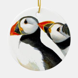 Puffins-Seevögel in der Wasserfarbe malt Grafik Keramik Ornament