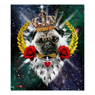 Pug the King with Crown + Red Roses Poster