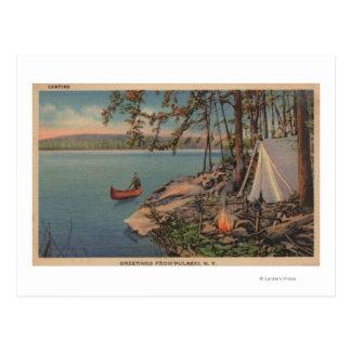 Pulaski, NY Ansicht des Kanus, Camping, Zelt, See Postkarte