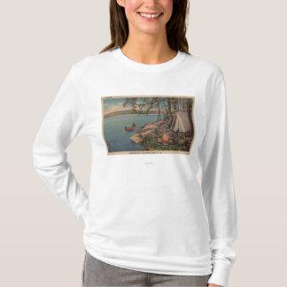 Pulaski, NY Ansicht des Kanus, Camping, Zelt, See T-Shirt