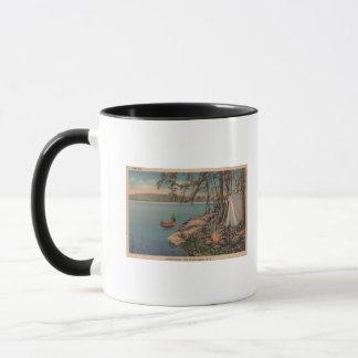 Pulaski, NY Ansicht des Kanus, Camping, Zelt, See Tasse