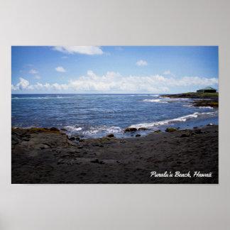 Punalu'u schwarzer Sand-Strand • Hawaii Poster
