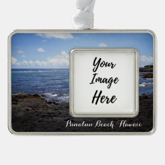 Punalu'u schwarzer Sand-Strand Hawaii Rahmen-Ornament Silber