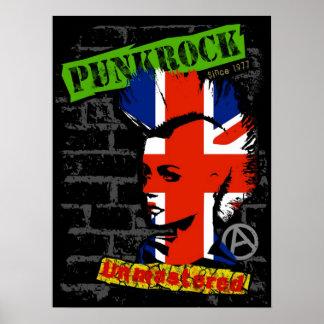 Punkrock - Union jack mohawk Poster