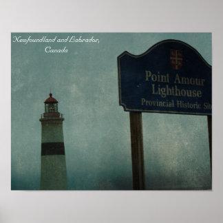 Punkt-Liebes-Leuchtturm, Neufundland und Labrador Poster