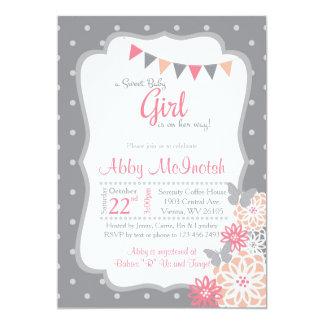 Punkt-Mädchen-Baby-Duscheneinladungen Karte