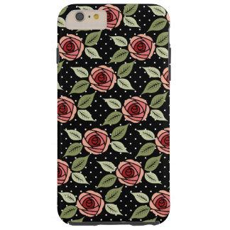 Punktierte Girly rosa Rosen Tough iPhone 6 Plus Hülle