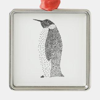 Punktierter Pinguin Quadratisches Silberfarbenes Ornament