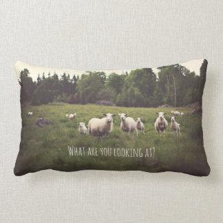 Punny weiße Schafe u. Lämmer in der üppigen grünen Lendenkissen