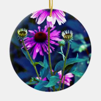 Purple Coneflowers Rundes Keramik Ornament
