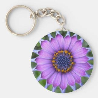 purple plus flower porte-clé rond