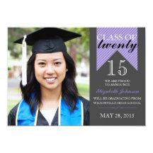 Purple Ribbon Class 2015 Graduation Announcements