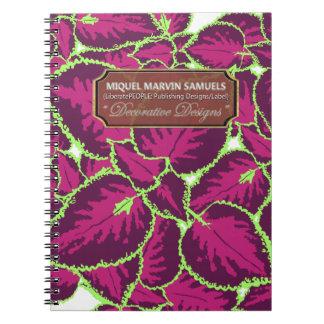 Purpur-Buntlippen-dekoratives modernes Notizbuch Spiral Notizblock