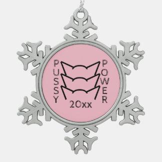 Pussy-Power-Katzen-Ohr-rosa Schneeflocken Zinn-Ornament