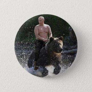Putin reitet einen Bären! Runder Button 5,1 Cm