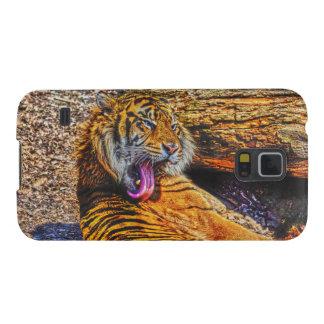 Putzende Sumatran Tiger-große Katzen-Tier-Kunst Samsung S5 Cover