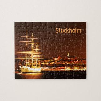 Puzzle Bateau la nuit à Stockholm, Suède