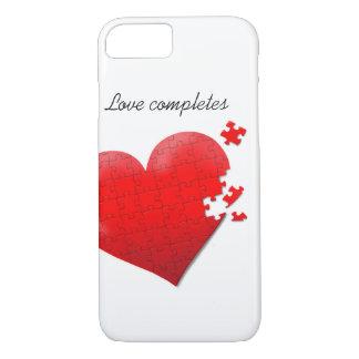 Puzzle-Herzentwurf der Telefonkasten-Liebe iPhone 7 Hülle