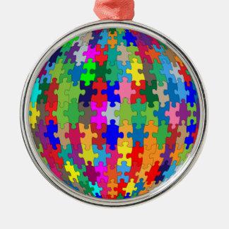 Puzzlespiel-Bereich Silbernes Ornament