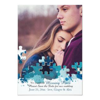 Puzzlespiel bessert Foto-Save the Date Mitteilung 12,7 X 17,8 Cm Einladungskarte