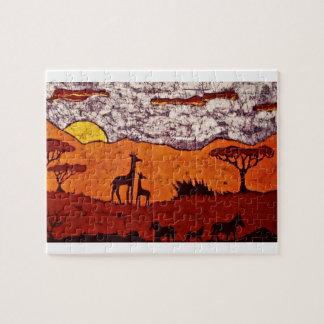Puzzlespiel mit afrikanischer Landschaft