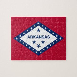 Puzzlespiel mit Flagge von Arkansas-Staat