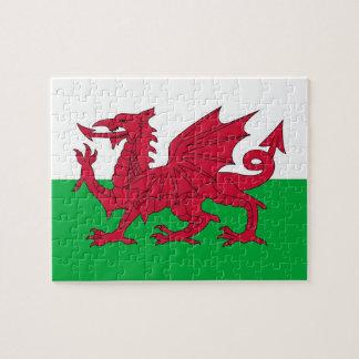 Puzzlespiel mit Flagge von Wales