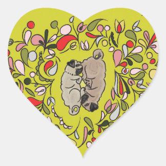Puzzlespiel-Mops-Aufkleber Herz-Aufkleber