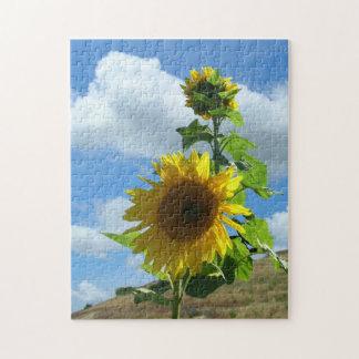 Puzzlespiel - Sonnenblume auf einem Hügel v.2