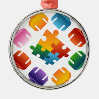 Puzzlespiel-Team Rundes Silberfarbenes Ornament