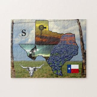 Puzzlespiel - Texas - Karte, bunte Fotos,