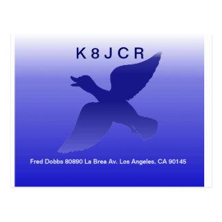 QSL - Blauer Enten-Entwurf Postkarte